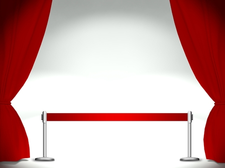 prom night: Stage with curtains and red ribbon, place for text