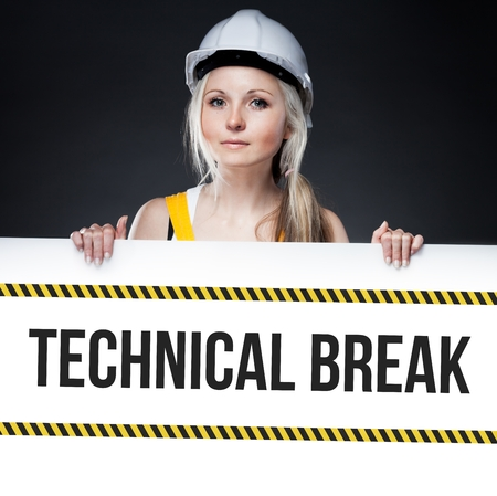 overhaul: Technical break sign on template board with worker woman Stock Photo