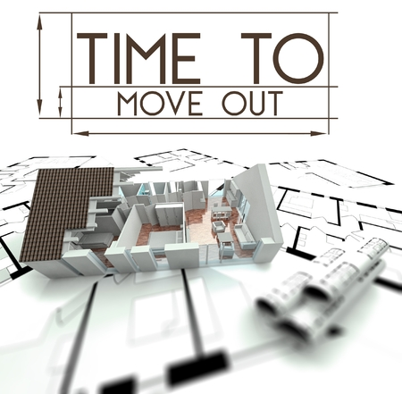 Time to move out with project of house on blueprints photo