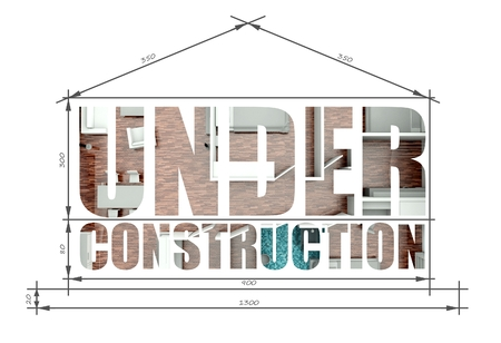 Under construction architectural illustration like modern house blueprint Stock Photo