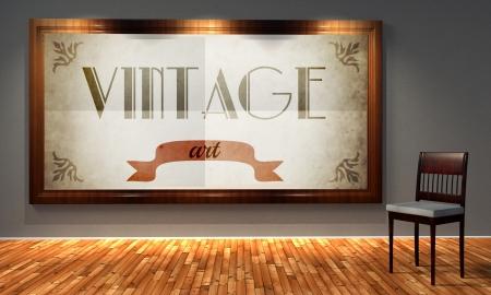 Vintage art in old fashioned frame, retro interior photo