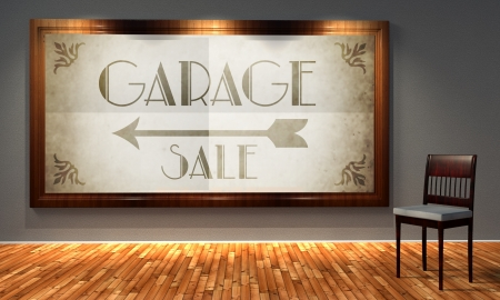 Vintage garage sale in old fashioned frame, retro interior photo