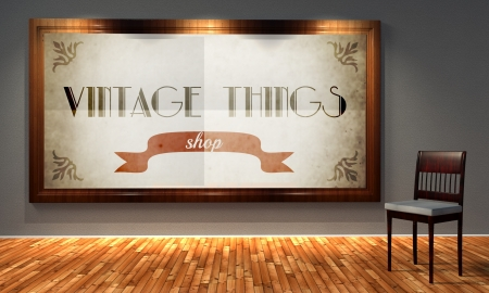 Vintage things shop in old fashioned frame, retro interior photo