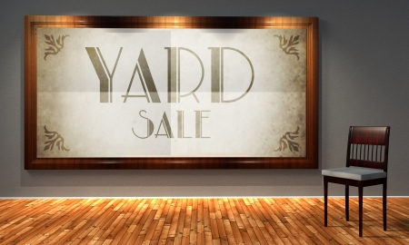 Vintage yard sale in old fashioned frame, retro interior photo