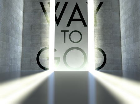 Way to god slogan on wall in modern interior, concept of faith photo