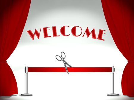 Welcome on stage, red ribbon cutting pair of scissors Stock Photo - 25316537