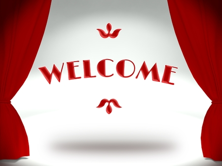 Welcome word on theater stage with red curtains Stock Photo - 25316539