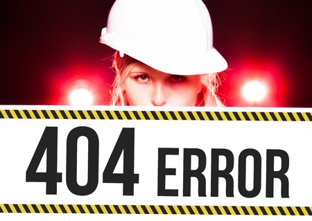 overhaul: Worker holding 404 error sign placed on information board
