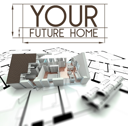 Your future home sign with project of house on blueprints photo