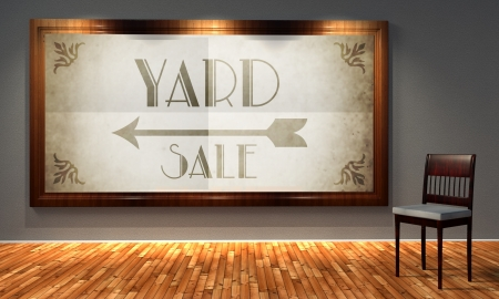 Yard sale vintage direction sign in old fashioned frame, retro interior