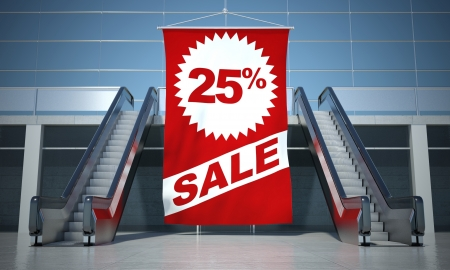 25 percent sale advertising flag and modern moving escalator stairs photo