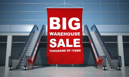 sell off: Big sale advertising flag and modern moving escalator stairs