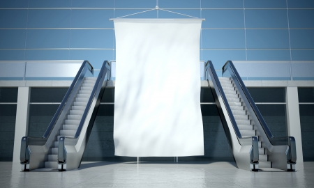 moving in: Blank advertising flag and moving escalator stairs in modern interior Stock Photo