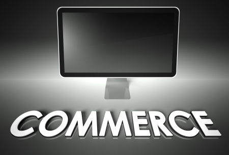 eshop: Computer blank screen with word Commerce, copyspace Stock Photo