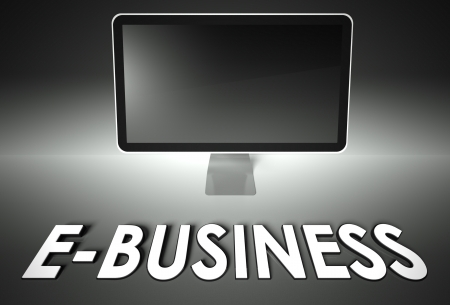 ebusiness: Computer blank screen with word E-business, copyspace