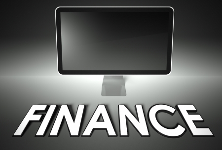 Computer blank screen with word Finance, copyspace photo