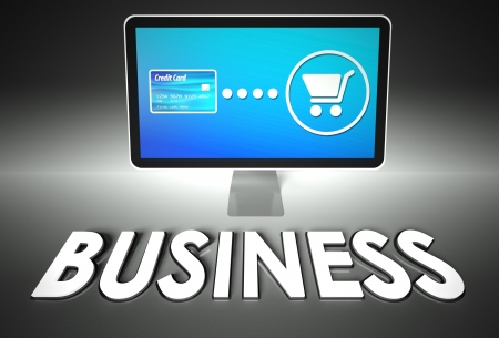 Computer screen and buying online with word Business, E-commerce concept photo