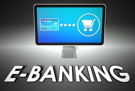 eshop: Computer screen and buying online with word E-banking, E-commerce concept