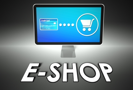 Computer screen and buying online with word E-shop, E-commerce concept