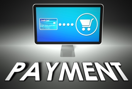 eshop: Computer screen and buying online with word Payment, E-commerce concept