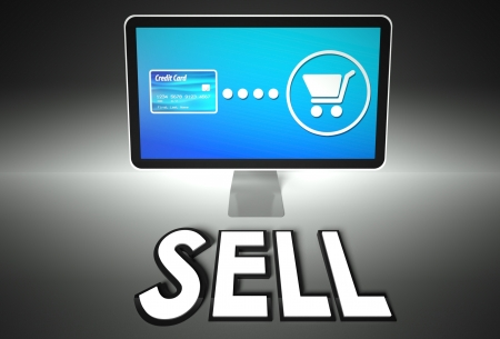 Computer screen and buying online with word Sell, E-commerce concept photo