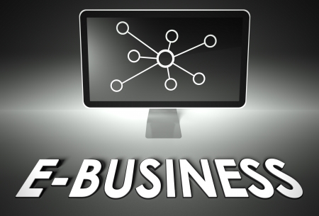 ebusiness: Computer screen and internet sign with word E-business, E-commerce concept