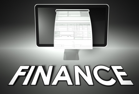net income: Computer screen and invoice with word Finance, Tax concept