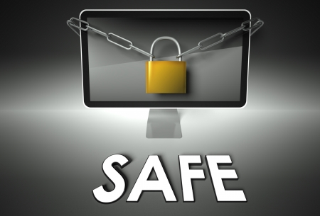 Computer screen and padlock with word Safe, Security concept photo