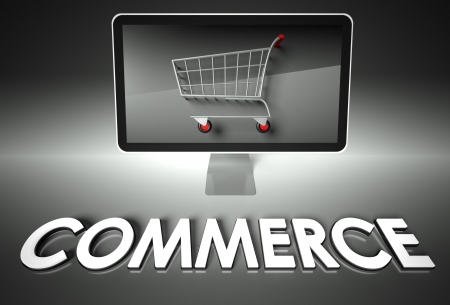 ebuy: Computer screen and shopping cart with word Commerce, E-commerce concept