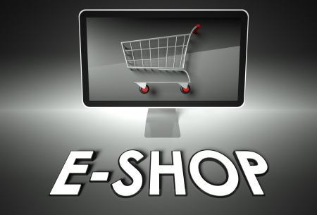 ebuy: Computer screen and shopping cart with word E-shop, E-commerce concept