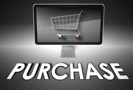 ebuy: Computer screen and shopping cart with word Purchase, E-commerce concept