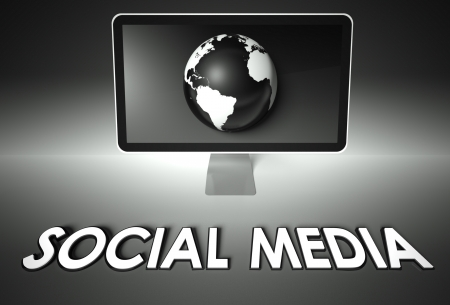 wikis: Computer screen and globe with word Social media, Network concept Stock Photo