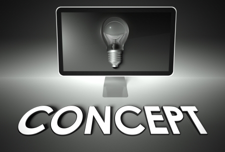 Computer screen and light bulb with word Concept, Idea symbol photo