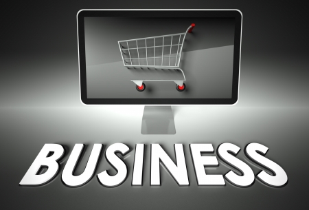 ebuy: Computer screen and shopping cart with word Business, E-commerce concept