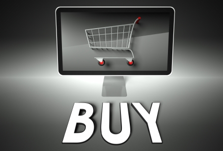 ebuy: Computer screen and shopping cart with word Buy, E-commerce concept