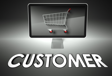 ebuy: Computer screen and shopping cart with word Customer, E-commerce concept