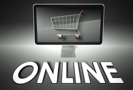ebuy: Computer screen and shopping cart with word Online, E-commerce concept