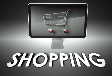 ebuy: Computer screen and shopping cart with word Shopping, E-commerce concept