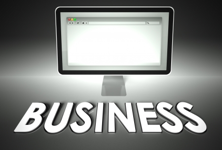 browser business: Computer screen and web browser with word Business, E-commerce concept Stock Photo