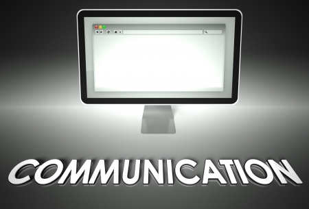 Computer screen and web browser with word Communication, Network concept photo