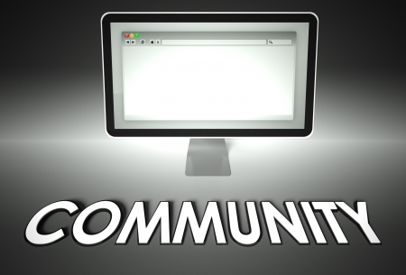 Computer screen and web browser with word Community, Connection concept photo