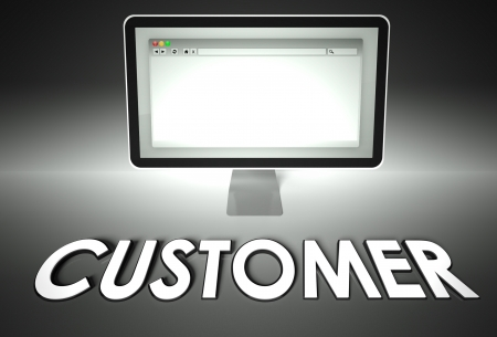 Computer screen and web browser with word Customer, E-commerce concept photo