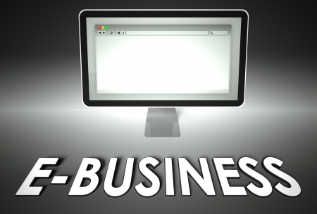 Computer screen and web browser with word E-business, E-commerce concept photo