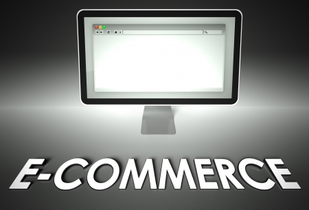 browser business: Computer screen and web browser with word E-commerce, Business concept