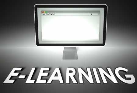 Computer screen and web browser with word E-learning, Internet concept photo