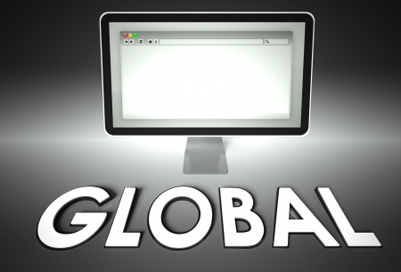 Computer screen and web browser with word Global, Network concept photo