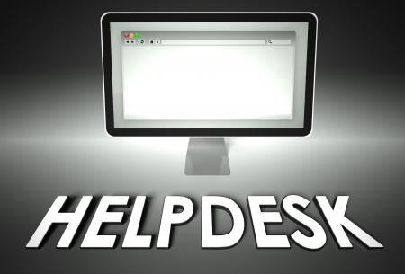 Computer screen and web browser with word Helpdesk, Support concept photo