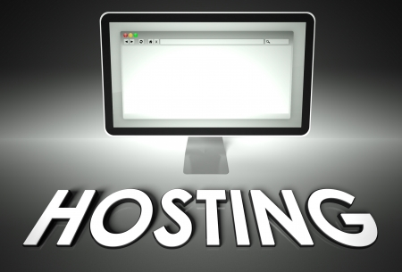 Computer screen and web browser with word Hosting, Network concept photo