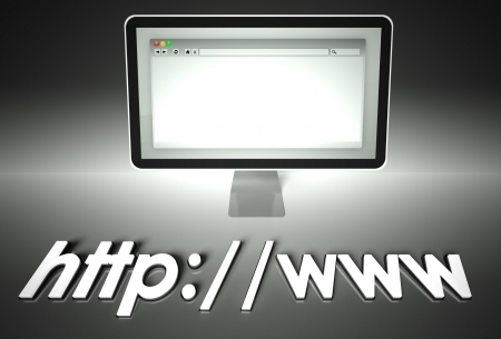 Computer screen and web browser with word Http, Network concept photo