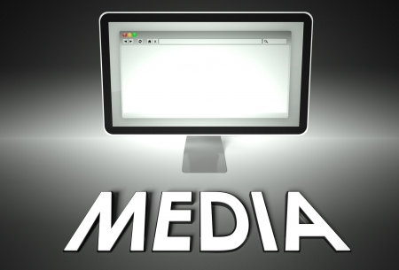 Computer screen and web browser with word Media, Information concept photo